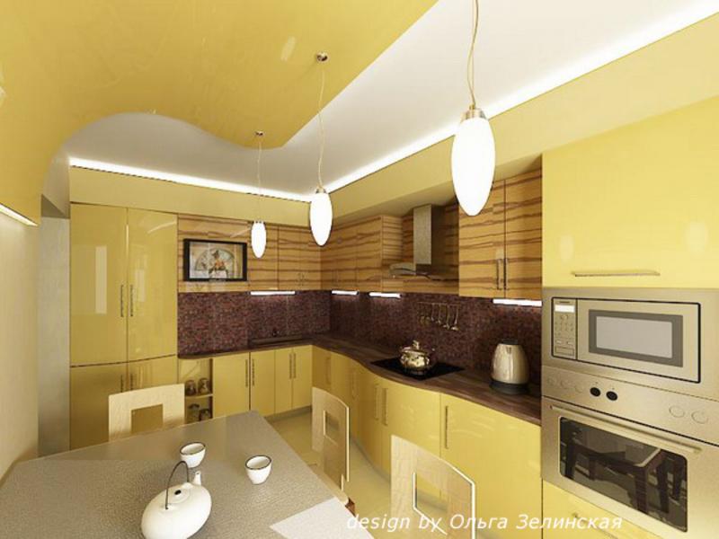 Интерьер кухни в желтых тонах фото